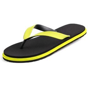 [CooZoo Home] スリッパ、パーソナリティフリップフロップ、夏のスリップファッション、サンダル、フリップフロップ、メンズビーチシューズ、トレンド 売り上げ後の専門家 (Color : Yellow, Size : M)