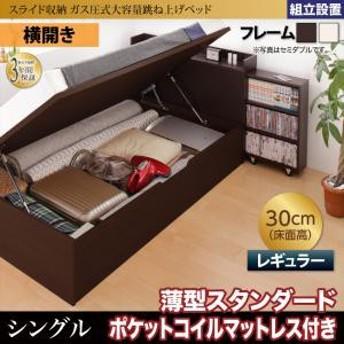 組立設置 スライド収納 大容量ガス圧式跳ね上げベッド Many-IN メニーイン 薄型スタンダードポケットコイルマットレス付き 横開き シング