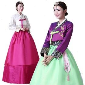 韓国民族衣装 チマチョゴリ ハロウィン 豪華セット 可愛い 6色選べる 可愛い マキシワンピース (XL, パープルグリーン)