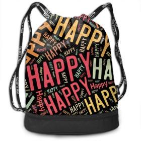 ジムサック Happy ハッピー ナップサック 巾着袋 バックパック 超軽量 バッグ 男女兼用 大容量 Black One Size