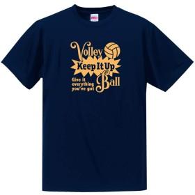 バレーボール Tシャツ ドライシルキー ウェア 練習着に!V801 160 ネイビー×ゴールド