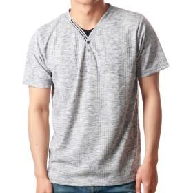 (ノータベネ)Nota Bene Lサイズ グレー フェイクレイヤードTシャツ メンズ 半袖 Vネック t-shirts カットソー メンズ