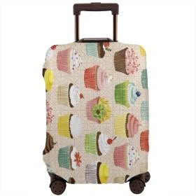Luggage プロテクター 防塵 目に見えないジッパークロージャーとバックル付き 印刷されたパターンを使って バックル 旅行用 少女 Elegant Cupcakes カップケーキ