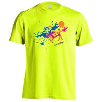 (プロテッジ) PROTEGGi ペンキアートな HANDBALL 半袖プレミアムドライTシャツ 蛍光イエロー L