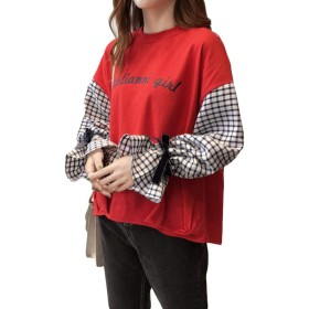 ZhongJue(ジュージェン)レディース 長袖tシャツ クルーネック トップス ゆったり カットソー 切り替え ボリュームスリーブ 韓国ファッション プルオーバー 可愛い(FREESIZEレッド)