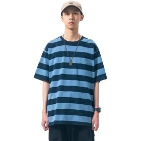(ヒラロキ) Hilarocky Tシャツ ストライプ 半袖 メンズ カジュアル トップス クルーネック シンプル 和風 夏服 運動 おしゃれ コットン