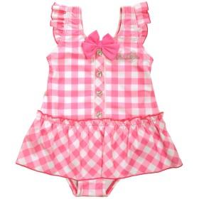 PONEY COMB(パニカム)女の子用チェック柄ワンピース水着 sw2404 (110cm, ピンク)