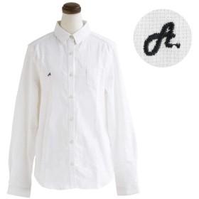 (アリステア) ALISTAIR シャツ 長袖 綿 麻 ストレッチ 厚手 無地 ストライプ 刺繍 XL/-03 ホワイト