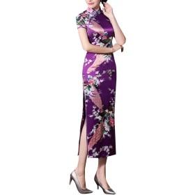 maweisong Woman Ancient Pure Silk Printing Cheongsam Embroidery Prom Evening Dress Purple XXXL