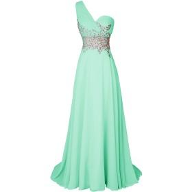 Dresstell(ドレステル) お呼ばれ 披露宴ドレス ワンショルダー キラキラビジュー付き ふんわりシフォン レディース ミント 11号