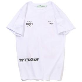 (オフホワイト,off white メンズ 快適な おしゃれ Tシャツ 半袖 (ホワイト, L)