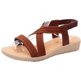 [ミネサム] サンダル レディース 夏 新品 ぺたんこ 編み上げ 無地 歩きやすい 滑りにくい ブラウン 24.5cm