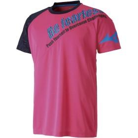 [Mizuno] バレーボールウエア プラクティスシャツ(半袖) V2MA8581 ベリーピンク×ネイビー S