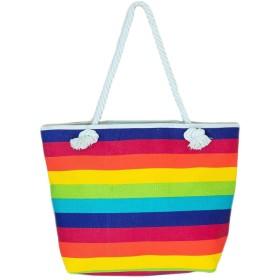 レインボー トート バッグ チャック付き 大容量 収納 子育てママにも最適 丈夫 鮮やか 高級