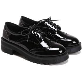 [DOUERY LTD] パンプス レディース 太めヒール レースアップビット付き 可愛い チャンキーヒール 23.5cm 通学 入学式 卒業式 春 秋 夏 シンプル ブラック ワイン 柔らかい 歩きやすい 可愛い 綺麗 純色 23.5cm 黒 黒色