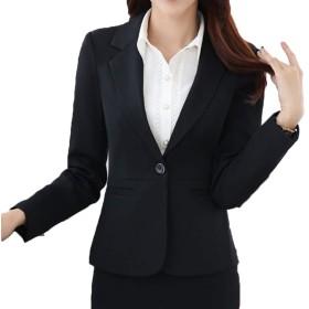 [CAIXINGYI] キャリア 大きなサイズ スーツ 女性 秋 気質 ロングスリーブ 新しい OL ビジネスウェア レディース スーツ ズボン フォーマルドレス ホテル 作業服 (S, ブラック - コート)
