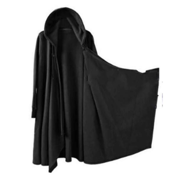 (グードコ) メンズ カーディガン ロング丈 長袖 ロング ニット フード ジャケット ショール 羽織り 美容師 カジュアル モード系 ブラックM