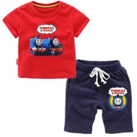 LATLONG きかんしゃトーマス 2点セット 半袖Tシャツ+半ズボン Thomas and Friends 子供 パジャマ コットン 58 (110cm,レッド)