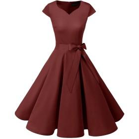 Dresstell(ドレステル) スイングワンピース カップ袖 Vネック 50年代 ウィンテージ お呼ばれ 結婚式 フォーマルドレス レディース ワインレッド 3XLサイズ