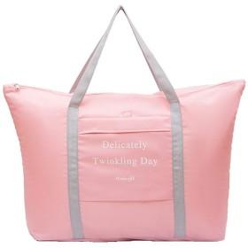[FUPUTWO] 折りたたみ 防水 トートバッグ 旅行 キャリーオンバッグ 軽量 小物入れ付き (ピンク)