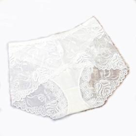 【Shop マーズ】ウエストセクシーな透明なレースのパンティー女性の下着さんビッグヤード (L, ホワイト)