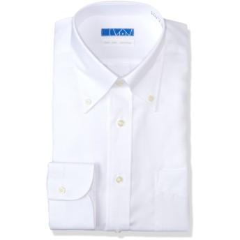 [ドレスコード101] スマシャツ 洗って干してそのまま着る メンズ ノーアイロン ワイシャツ 長袖 形態安定 綿100% シャツ EATO23 白 ツイル ボタンダウン L (裄丈84)