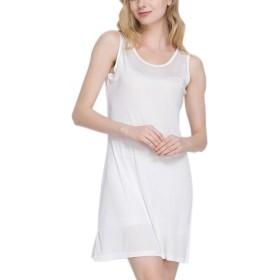 (MAYUDAMAシルク)ピュアシルク100% シルクニット ノースリーブ スリップ ロングドレス スカート ペチコート シルク パジャマ ルームウェア (XL, ホワイト)