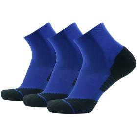 HUSOスポーツ 靴下 レディース 男性 トーレニング スニーカー アウトドア 抗菌消臭 着圧 コンプレッション ショートソックス おしゃれ 3足組 ブルー