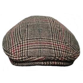 大きいサイズ 帽子 グレンチェック ハンチング帽子 XL おしゃれ ビッグサイズ メンズ 父の日 ブラウン チェック柄 + クリーナー1枚/SA207 (XL, ブラウン・Aタイプ)