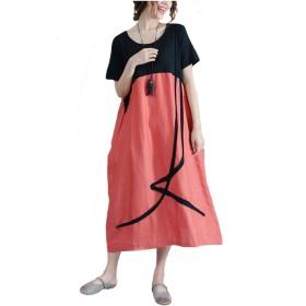 ワンピース レディースロングドレス 夏 半袖 aライン綿麻ゆったり体型カバー大きいサイズカジュアル着痩せ (XL, オレンジ)