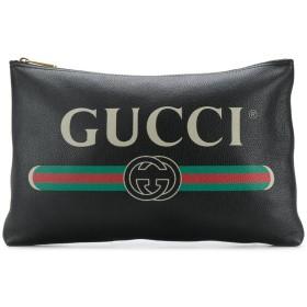 Gucci ロゴプリント レザークラッチバッグ
