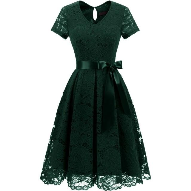 Dresstell(ドレステル) 結婚式 パーティードレス ワンピース レース 袖あり 膝丈 Vネック 二次会 お呼ばれ イブニング レディース ダークグリーン 3XLサイズ