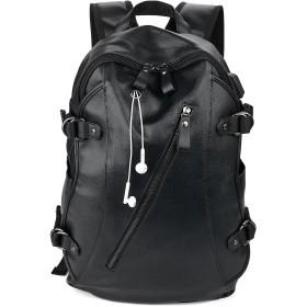 Bageek リュック メンズ 革 黒 大人 バックパック レザー 通勤 旅行 ビジネス 鞄 A4対応 14インチPC収納 防水