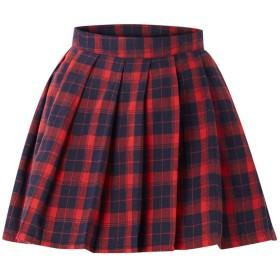 Wakind プリーツスカートタータンチェック柄スカートミニスカートチェック柄白ラインハイウエストフレアスカート女子高生(赤/紺XL)