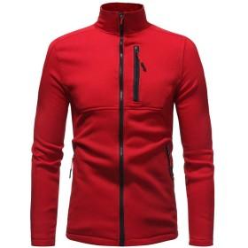 男性のプルオーバーセーター、三番目の店 メンズ 秋 冬 ソリッド ロングスリーブ ジッパー フード付き スエットシャツ タートルネック セーター コート トップス