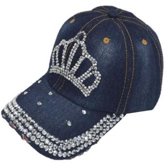 【SEBLES】レディース 帽子 キャップ キラキラ ラインストーン ダメージ加工 デニム 春 ブルー王冠A ワンサイズ