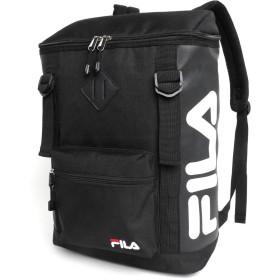 [フィラ] リュック ボックス スクエア 型 ブランド ロゴ PC収納 柄A(ブラック/ホワイトロゴ/ブラックジップ) 縦38cm×横26cm×マチ14cm(A4対応)
