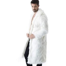 LNGOW おしゃれ毛皮コート ファーコート 暖かさ 絶品コート 秋冬 毛皮コート フェイクファー アウターコート かっこいい 防寒冬着 (白、S)