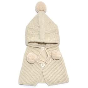 (よキーよ) Yokeeyo ニット帽子&マフラーのセット 耳&肩まであたたか 毛糸 可愛い耳付き帽子 ケープ ベビー キッズ 赤ちゃん ふわふわ 男の子 女の子 キュート 防寒 スタイリッシュ ボンボン付き 男女児 秋冬 防寒