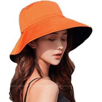 UVカット 帽子 ハット レディース 日よけ帽子 紫外線対策 両面使えるワイヤーを加える 日焼け防止 熱中症予防 折りたたみ つば広 軽量 おしゃれ 可愛い 婦人用 ハット 旅行用 (黒+ オレンジ)