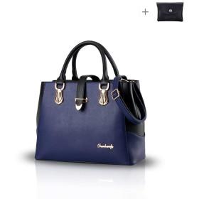 Kaichen 2018年の新しい黒と白のfaishonスタイルのハンドバッグカジュアルショルダーバッグクロスボディバッグ財布女性のための仕事 (紺)