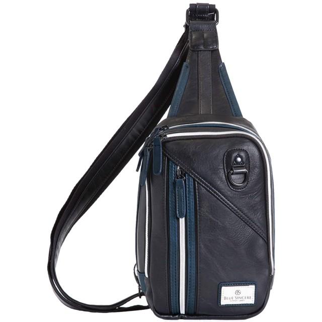 [BLUE SINCERE] ボディバッグ 撥水 レザー 6ポケット メンズ グレイスネイビー