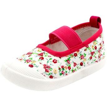 (キュミオ) QeMIO 子供 キッズ 靴 上履き 女の子 上靴 スニーカー 外履き 内履き 通学靴 花柄 通気 キャンバス スリッポン 幼児園 保育園 可愛い