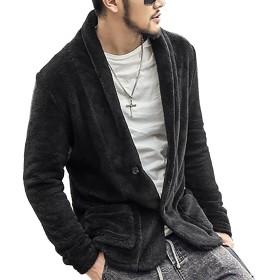 [ミックスリミテッド] ボアジャケット メンズ アウター フリース もこもこ 起毛 ニットジャケット ブレザー F009-GRY-L
