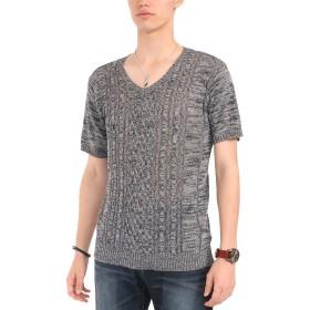 (スペイド) SPADE セーター メンズ サマーセーター ニット サマーニット 半袖 フィッシャーマン 【w658】 (XL, チャコール)