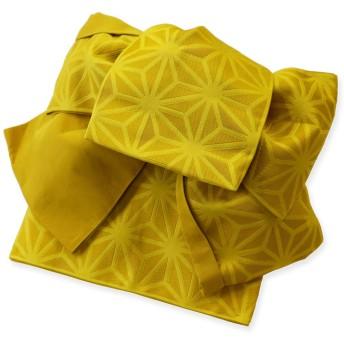 作り帯 浴衣帯 麻の葉 (1カラシ) 変り織 両面小袋半幅帯 つばめ結び帯