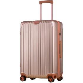 スーツケース アルミフレーム 機内持込~大型 軽量 超消音 ダブルキャスター 8輪 TSA キャリーケース キャリーバッグ (Lサイズ, ローズゴールド)