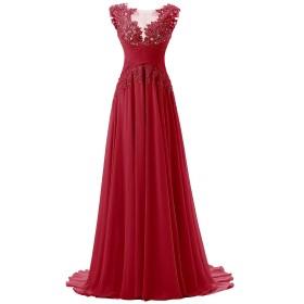 Dresstell(ドレステル) 披露宴 結婚式ドレス ふんわりシフォン アップリケ ビーズ付き フロア丈 レディーズ ダークレッド 13号