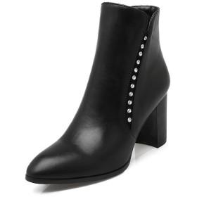 AdeeSu ウィメンズ 太めヒール ストーン ファッションチェックのハイヒール ブラック レザー ブーツ・ブーティ - 23.5cm