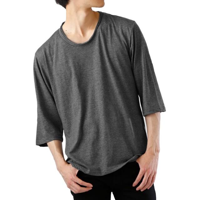 (モノマート) MONO-MART ツインロール 7分袖 カットソー 杢 ストレッチ ちょいゆる Uネック Tシャツ カラー メンズ チャコール Sサイズ